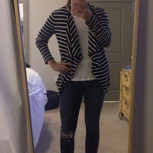 Striped JCrew Open Cotton Cardigan